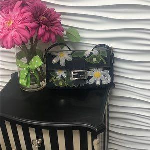 Fendi Denim Flower Baguette Bag, never used